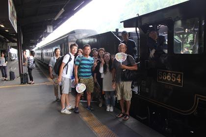 SLで人吉駅に到着
